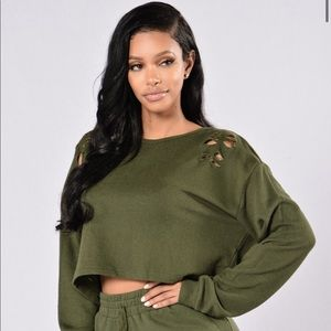 Army Green Distressed Cropped Crewneck